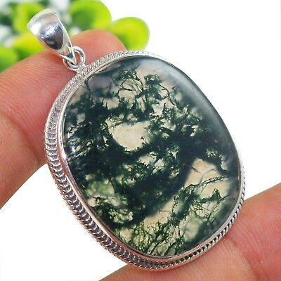 Halloween Offer-Cab Moss Agate Solid 925 Sterling Silver Pendant IN-1459