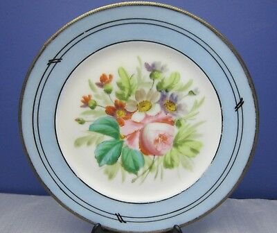 C19Th Continental Plate German? Russian ?Brass Bound Hand Painted Flowers