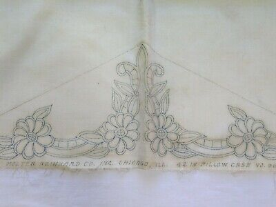 Vintage Stamped For Embroiderey Cotton Pillowcase Floral