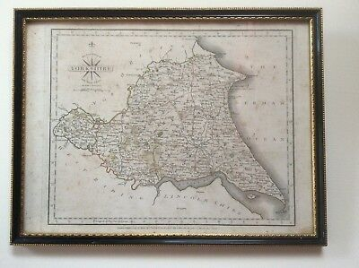 Original County Map of Yorkshire East Riding 1787 Engraved by John Cary Framed