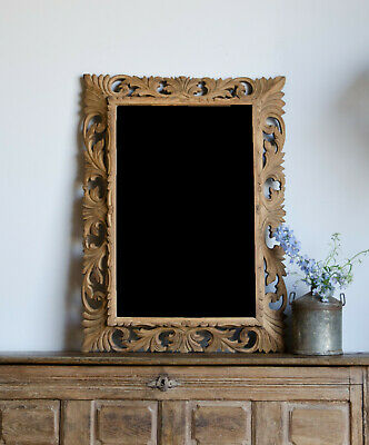 Large French Antique 19th Century Carved Oak Beveled Mirror