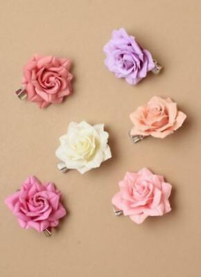 Set of 6 Small pastel coloured fabric rose on a beak clip