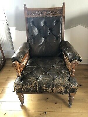 Antique victorian library chair / armchair