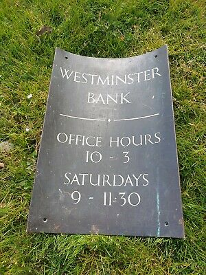 WESTMINSTER BANK Plaque/Sign BRASS/BRONZE-RARE/ANTIQUE/NOT ENAMEL OPENING HOURS