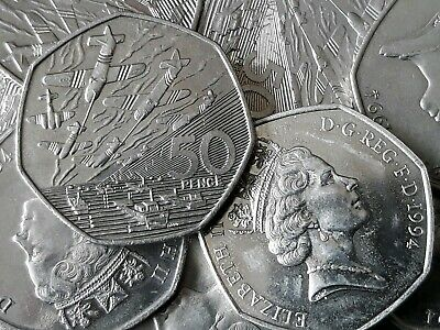 1994 D DAY. Ships and Planes. Large Old 50p. Fifty pence. Circulated
