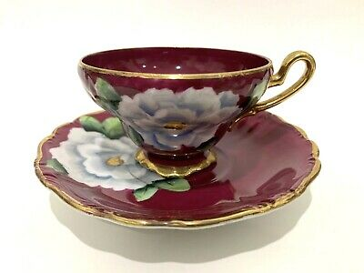 Vintage Cup and Saucer Serrena China Handpainted White Roses on Burgandy w/Gold
