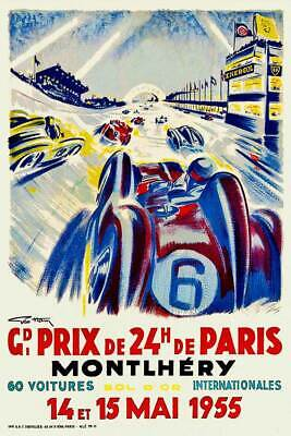 Vintage French Motor Racing Poster Paris 24hr Grand Prix Montlhéry 1955 Retro