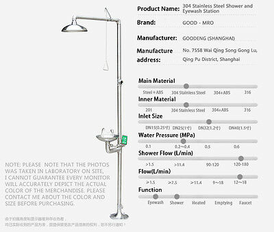 loaded (304 Stainless Steel) Shower and Eyewash Station - GOOD - MRO