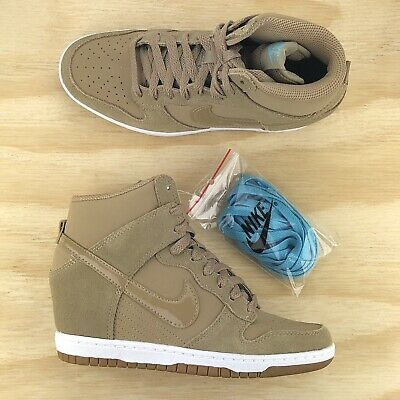 best sneakers f3805 0eb78 Nike Dunk Sky Hi Essential Wedge Heel Desert Camo Tan Beige 644877 200  Multi Sz