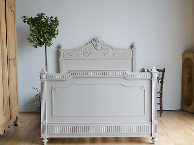 French Antique 19C Carved Walnut Small Double Bed Painted in Farrow & Ball
