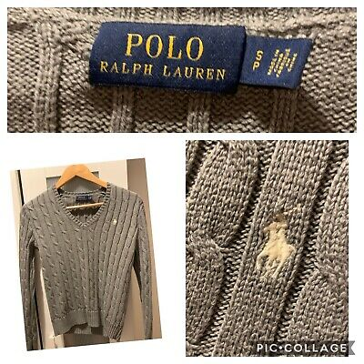 634ab1e5b RALPH LAUREN WOMEN S Ladies Cable Knit Cotton V Neck Jumper Grey S ...
