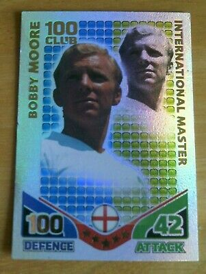 Topps MATCH ATTAX World Cup 2010 - BOBBY MOORE - 100 Club Foil Card.
