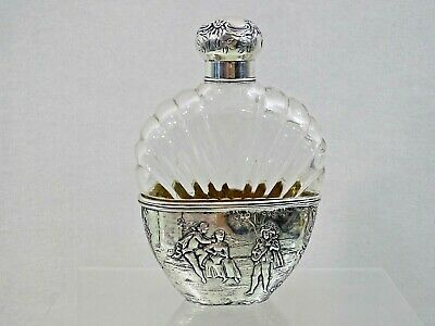 FANTASTIC ANTIQUE STERLING SILVER CUT CRYSTAL ALCOHOL FLASK Baccarat 19 century