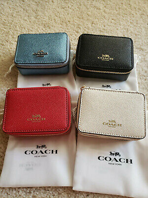 NWT Coach Travel Triple Pill Box in leather,BLACK RED WHITE or METALLIC ICE BLUE