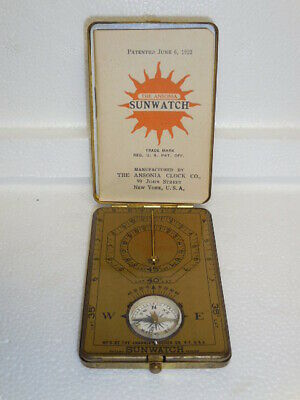 Antique Brass-Pocket Sunwatch-Compass- Manufacture by Ansonia Clock Co.New York