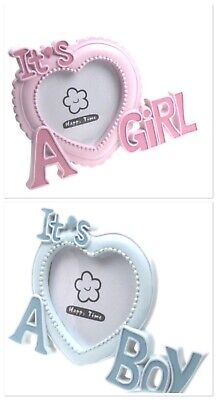 Baby Boy Girl Pink Blue Photo Picture Frame Newborn Christening Gift Soft Touch