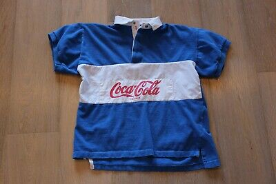 305d1336 Vintage 80s Coca Cola Rugby Polo Size S Small Blue Red White Short Sleeve  Shirt