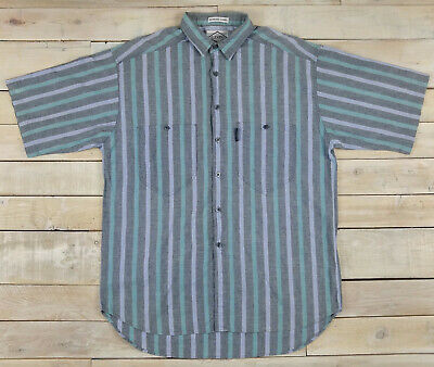 Vintage LEVI'S Diamond Label Vertical Stripe Western Style Pocket Shirt Size L