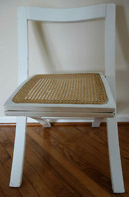 Vintage Mid Century Wood Folding Chair Cane Seat Modern Design White Color
