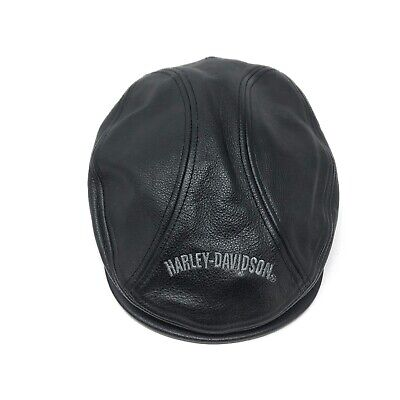 cd761931ed33c Harley Davidson Black Leather Biker Hat Newsboy Cabbie Hat Size Large
