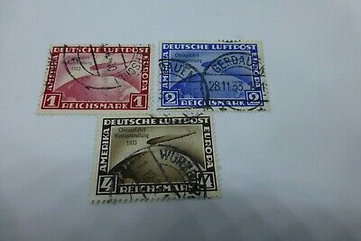 ''germany' 'graf zeppelin''chicago world exhibition set of 3 used,cat val sg $12