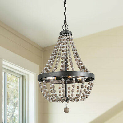 "LNC 4-Light Bead Chandelier Lighting, Real Wood Beads, 25.4""H x 16.1W"