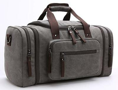 Travel Duffel Bag Leather Canvas Sports Gym Bag Tote Carry On Luggage Gray
