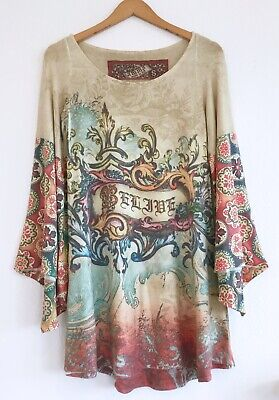 6472d9c6ff9 Pretty AMMA DESIGN Floral Knit Believe Tunic Dress Flare Sleeves Size Small