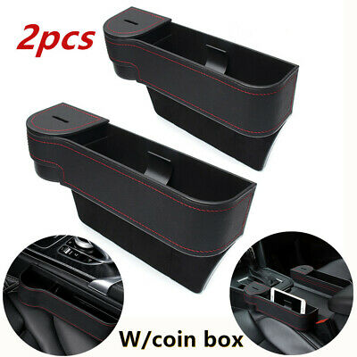 2*Car Seat Gap Quilted Storage Box Pocket Organizer Phone /Cup Holder W/Coin Box