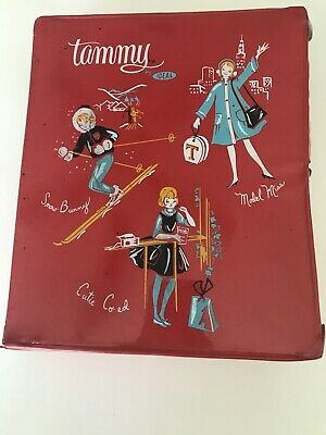 Vintage IDEAL DOLLS TAMMY Red Wardrobe Carrying CASE For Clothing Trunk HTF