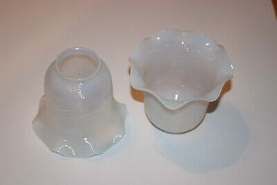 """2 Pair of Antique Blue Swirl Opalescent Glass Shades 2 1/4"""" Fitter EXCELLENT"""