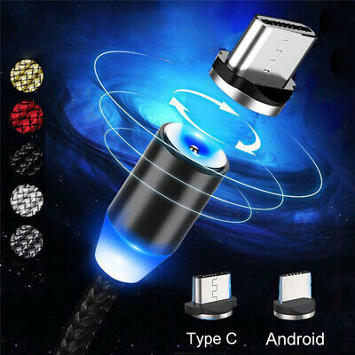 Magnetic USB Type-C Cable Micro USB LED Fast Charging Charger Adapter Data Cord