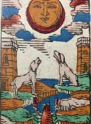 c1850 The Moon Antique Tarot Playing Cards Major Arcana Stencil Painted Single