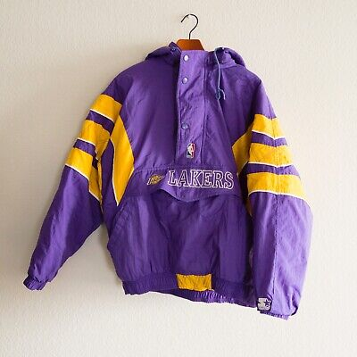 Starter NBA Los Angeles Lakers Puffy Pull Over Jacket Purple Yellow Size XL VTG