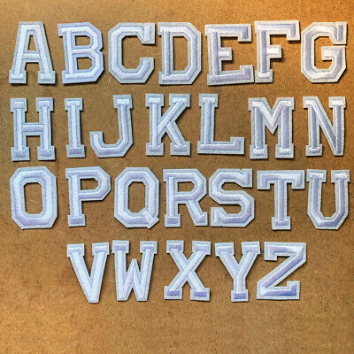 1pc Letter White Embroidered Cloth Iron On Patch Appliqué Alphabet #1373