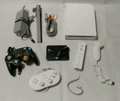 MODDED NINTENDO Wii CONSOLE + 1TB HARD DRIVE + 4 CONTROLLERS ~ ALL IN 1 PACKAGE