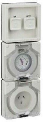 Clipsal 56-SERIES SWITCHED SOCKET WITH TIMER 10A 3-Pin Flat,Less Enclosure, Grey