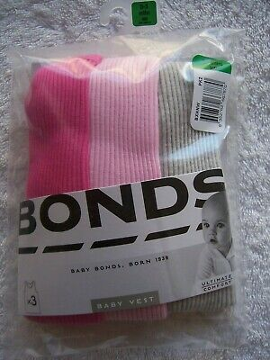 BNIP Baby Girl's Bonds 3 Pack Pink & Grey Singlets Size 000, 00 & 0