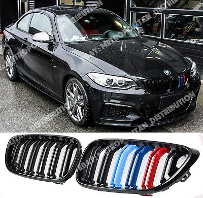 BMW 2,F22/F23/F87,coupe/convertible,double slat/bar M2 grille,black+M tri-colors