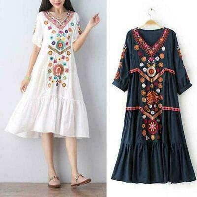 Women Vintage Ethnic Mexican Embroidered Cotton Linen Long Boho Loose Dress