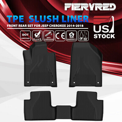 KIWI MASTER TPE Floor Liners Slush Mat Set for Jeep Cherokee 14-18 All Weather