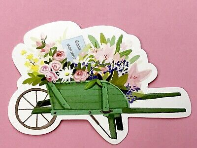 Cute Flower Cart Vintage Style Post Card/ Craft  Scrapbooking/ Journal