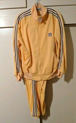 Vtg 80s tracksuit L TODD 1 Yellow matching jacket +  pants Hip Hop