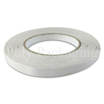 "72 x DOUBLE SIDED STICKY TAPE 12mmx50m(1/2"") White Adhesive for Pictures"