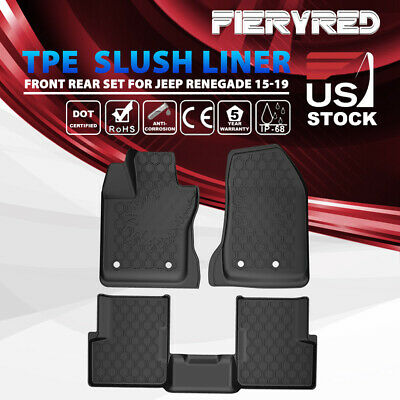 KIWI MASTER 1st Row Rear Mats Floor Liners TPE Slush Mat for 15-19 Jeep Renegade