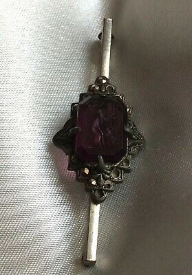 Fine Jewellery,Antique Bar Brooch,5.5Cm,Purple Stone Engraved With Figure