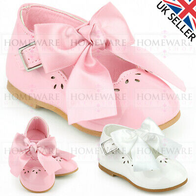 daea6ee6c Spanish Style Bow Shoes Baby Girls Mary Jane Shiny Patent Shoes White Pink  Uk1-8
