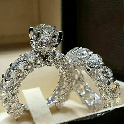 luxury 925 Silver Jewelry Women wedding Bridal Ring White Sapphire Size 6-10