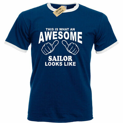 Awesome SAILOR T Shirt funny boat ship nautical gift tee top ringer