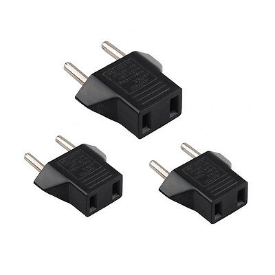 3X USA US To EU Europe Travel Charger Power Adapter Converter Wall Plug Home FH